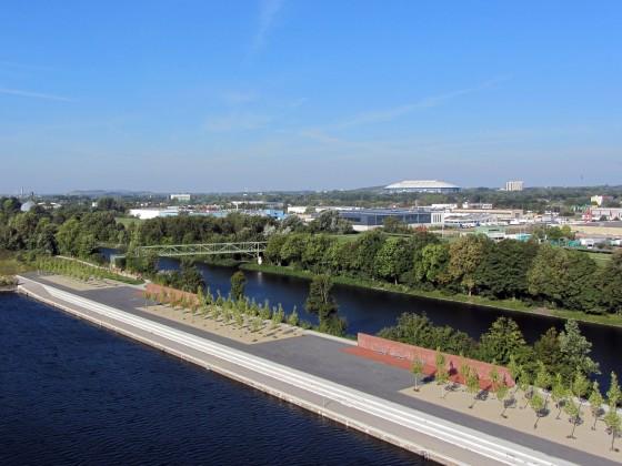 Neubaugebiet am Kanal mit Blick auf Schalke (Veltins-Arerna)